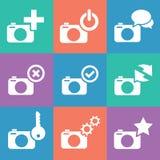 Uppsättning för kamerarengöringsduksymboler Royaltyfri Fotografi