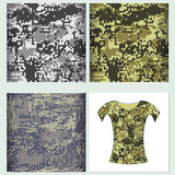 Uppsättning för kamouflage Co för sömlös modell för t-skjorta design skyddande Arkivbilder