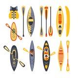 Uppsättning för kanotsportutrustning royaltyfri illustrationer
