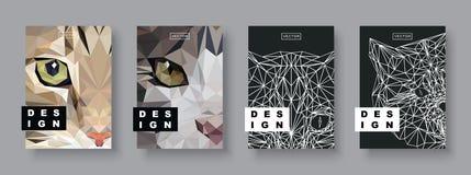 Uppsättning för kattabstrakt begreppräkningar Framtida affischmall Geometriskt älsklings- djur för begrepp Polygonal halvton Cat  royaltyfri illustrationer