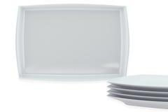 Uppsättning för keramisk disk för vit fyrkant Fotografering för Bildbyråer