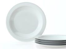 Uppsättning för keramisk disk för vit rund Royaltyfria Bilder