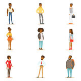 Uppsättning för kläder för Afro--amerikan svarta människor gatastil av att stå för tecknad filmtecken stock illustrationer