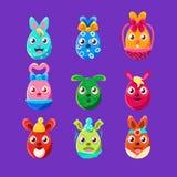 Uppsättning för klistermärke för kaniner för påsk för påskägg formad färgrik flickaktigt av symboler för religiös ferie stock illustrationer