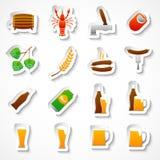 Uppsättning för klistermärkear för alkoholölparti Royaltyfri Fotografi