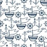 Uppsättning för klotter för havsliv Nautiskt skissa samlingen med skeppet, delfin, skal, fiskankaren och rodern Arkivbilder