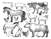 Uppsättning för klotter för lantgårddjur vektor Vektor Illustrationer