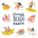 Uppsättning för klotter för pölparti lyckligt folk Utomhus- aktiviteter för sommar och festlig garnering Vektorillustration som i stock illustrationer