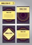 Uppsättning för klottermandaladesign dekorativ elementtappning Royaltyfria Foton
