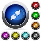 Uppsättning för knapp för maktkontaktdon Fotografering för Bildbyråer