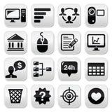 Uppsättning för knappar för svart för Websitemenynavigering Arkivbild
