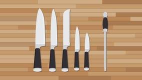 Uppsättning för knivsamlingskök med wood bakgrund vektor illustrationer