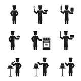 Uppsättning för kockmansymboler Arkivfoto