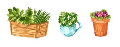 Uppsättning för konst för gem för trädgårddekorväxter stock illustrationer