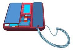 Uppsättning för kontorsIP-telefon med LCD-vektorn Arkivbilder