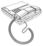 Uppsättning för kontorsIP-telefon med LCD-vektorn Arkivfoto