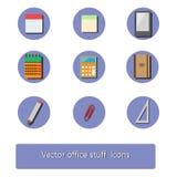 Uppsättning för kontorsmaterialsymbol stock illustrationer