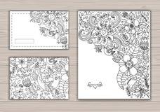 Uppsättning för konturbröllopkort med abstrakt bakgrund Royaltyfri Bild