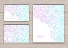 Uppsättning för konturbröllopkort med abstrakt bakgrund Royaltyfri Fotografi