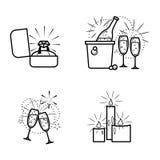Uppsättning för kopplingsobjektsymboler stock illustrationer