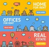 Uppsättning för kort för affischer för Real Estate reklambladbaner vektor royaltyfri illustrationer