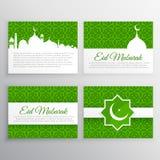 Uppsättning för kort för Eid festivalhälsning Arkivfoto