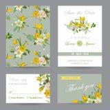 Uppsättning för kort för bröllopinbjudanlyckönskan datumet sparar vektor illustrationer