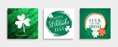 Uppsättning för kort för hälsning för dag för St Patrick ` s Irländsk mallsamling för nationell ferie royaltyfri illustrationer