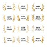 Uppsättning för krans för lager för utmärkelse för bästa utmärkelsevektor guld- Vinnareetiketten, bladsymbolsegern, triumfen och  vektor illustrationer