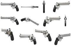 Uppsättning för krom för revolverskjutvapenvapen Arkivbild