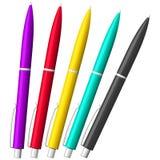 Uppsättning för kulspetspennasilverpennor realistisk penna Royaltyfri Foto