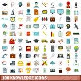 uppsättning för 100 kunskapssymboler, lägenhetstil vektor illustrationer