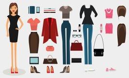 Uppsättning för kvinnaklänningkod Illustration för samling för affär för kvinnakontorsarbetare Royaltyfria Bilder