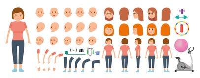 Uppsättning för kvinnateckenskapelse Idrottskvinna och sportutrustning för kondition vektor illustrationer