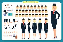 Uppsättning för kvinnateckenskapelse Stewardessen, flygvärdinna Symboler med olika typer av framsidor och hårstil, stock illustrationer