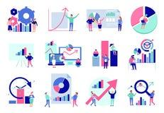 Uppsättning för lägenhet för dataanalys royaltyfri illustrationer