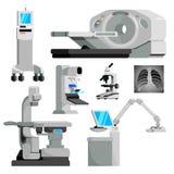 Uppsättning för lägenhet för vektor för medicinsk utrustning för cancerdiagnos arkivfoto