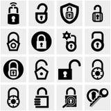 Uppsättning för låsvektorsymboler på grå färger. Arkivbilder