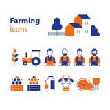 Uppsättning för lantbrukproduktsymboler Arkivfoto