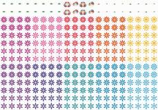 Uppsättning för leende för blomma för tecknad filmbladfjäril gullig royaltyfri illustrationer