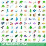 uppsättning för 100 lekplatssymboler, isometrisk stil 3d Royaltyfria Foton
