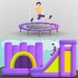 Uppsättning för lekplatstrampolinbaner, tecknad filmstil royaltyfri illustrationer