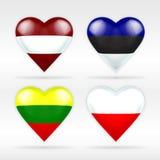 Uppsättning för Lettland, Estland, Litauen och Polen hjärtaflagga av europeiska stater Arkivfoto