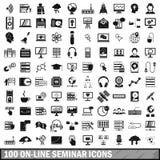 uppsättning för 100 on-line seminariumsymboler, enkel stil Arkivbild