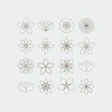 Uppsättning för Lineart dekorativ blommamallar Arkivbild
