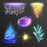 Uppsättning för ljusa effekter stock illustrationer