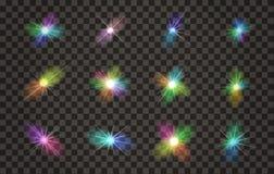 Uppsättning för ljusa effekter för vektor med genomskinlig bakgrund vektor illustrationer