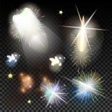 Uppsättning för ljusa effekter Magisk effekt för vektor med radiellt Arkivfoto