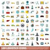 uppsättning för 100 logistiksymboler, lägenhetstil Royaltyfri Fotografi