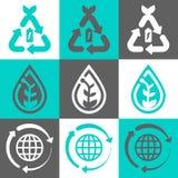 Uppsättning för logo för Eco begreppsvektor stock illustrationer
